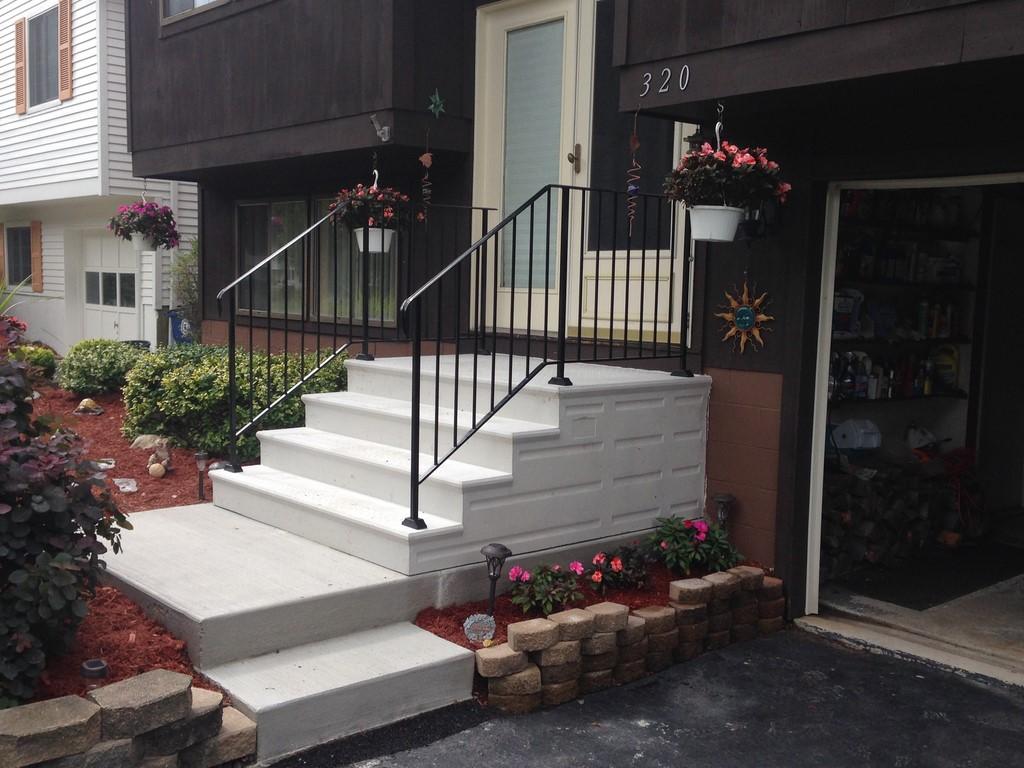 Unit Step Precast Concrete And Wrought Iron Railing